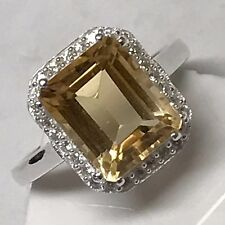 Natural 2.5ct Golden Citrine Accent Stone 925 Sterling Silver Emerald Cut Ring 8