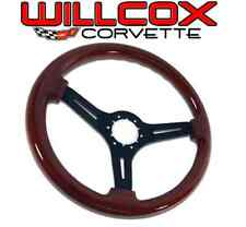68-75 77-82 Corvette Mahogany Steering Wheel Black Spokes with Tilt Tele Column