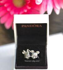 New! Pandora Disney Minnie and Mickey Portrait Charms W/Box
