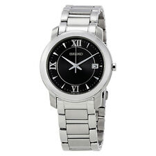 Seiko Dress Black Dial Stainless Steel Mens Watch SGEE95