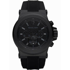 New Michael Kors Dylan Black Silicone Chronograph MK8152 Wrist Watch for Men
