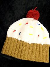 LA Gear Girls ladies Caramel Cream fairy cup cake pom pom beanie hat Festival