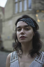 Navy Blue Black Vintage Beaded Headband Headpiece 1920s Flapper Great Gatsby k96