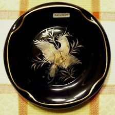 Vintage CAPEANS porcelain dish w/STERLING SILVER INLAY of a perched bird.Unused
