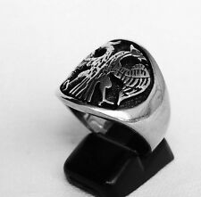 Eastern Byzantine Sterling Silver RUSSIAN EAGLE ORTHODOX CHRISTIAN  MEN'S RING
