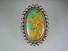 LARGE OLD NAVAJO STERLING SILVER & NATURAL HACHITA TURQUOISE RING