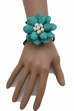 Women Cuff  Bracelet Fashion Turquoise Blue Flower Stones Floral Jewelry Beads