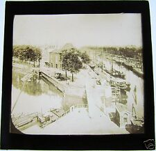 Glass Magic Lantern Slide CANAL POSSIBLY IN ANTWERP C1900 BELGIUM
