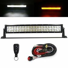 "MICTUNING 22"" 120W Amber White LED Work Light Bar Remote Control Wiring Harness"