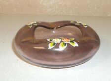 Vintage Pink Bohemian/Czech Art Glass Ashtray/Hand Painted Enameled Flowers