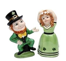 "Leprechaun Irish Boy and Girl Dancing Salt and Pepper Shaker Figurines 2.5"" tall"