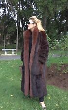 Fox Canadian Opossum Genuine Fur Reversible Rain Coat Raincoat Brown Maxi Medium