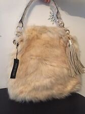 ❤️❤️ RIVER ISLAND STUNNING CREAM FUR BAG WITH GOLD DETAILING NWT  ❤️❤️