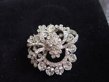 DIAMONTE BROOCH - lots of sparkles - swirled circle