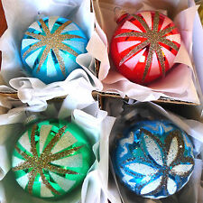 Box 4 West Germany Glittered White Black Mica Star Glass Xmas Ornaments Colors