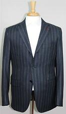 New Isaia Napoli Base S Navy Moss Striped Wool Suit Aquaflannel 50 8R 40 40R