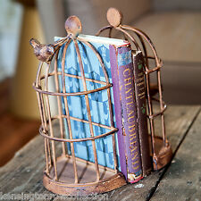 BOOKENDS - VINTAGE BIRD CAGE BOOKENDS -  BOOK ENDS - DISTRESSED IRON FINISH