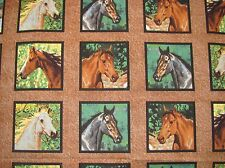 HORSES WILD WINGS HEAD STUDY* 18 BLOCK PANEL on COTTON FABRIC By The HALF Yard
