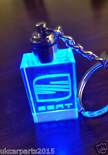Crystal blue led light car key chain keyring fob for SEAT ibiza leon toledo 2nd