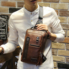 Black Mens Handbag Leather Sling Shoulder Bag Chest Pack Sports Backpack Fashion