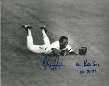 Yankees Billy Sample autographed 8x10 diving photo vs Red Sox's 8-18-85 added *