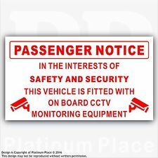 Passenger Notice-On Board CCTV Monitoring-Safety,Security,Taxi,Minibus,Cab-Red/W
