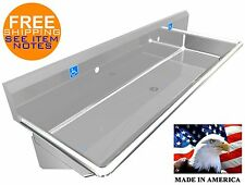 "ADA 2 STATION 60"" HAND WASH SINK 1-1/4"" FAUCET HOLE AVAILABLE CUSTOM SETUP HOLES"