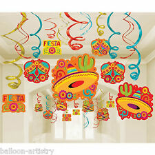 30 Assorted Wild West Mexican Fiesta Festivity Party Cutouts Swirls Decorations