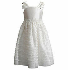 SWEET HEART ROSE Girl's 3T Ivory White Bow Shoulder Ruffled Dress *NWT $68