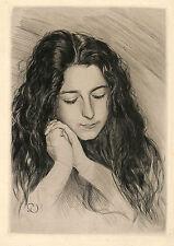 """GASTON DARBOUR EAU-FORTE ORIGINALE """" TETE DE JEUNE FILLE """" 1903"""