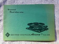 ELAC Miracord early XA100 Turntable USER OPERATIONS MANUAL XA 100 Changer