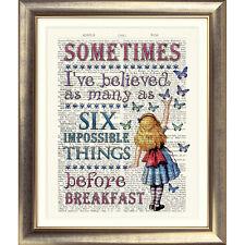 Impresión de arte antiguo Libro página Alice In Wonderland Vintage Tea Party Lewis Carroll