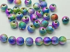 """100 Peacock Multi-Color Stardust Acrylic Round Beads 10mm(3/8"""") Spacer Finding"""