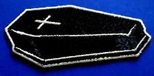 COFFIN with silver cross EMBROIDERED IRON-ON PATCH Free Shipping goth death punk