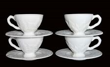 8 Pc NEIMAN MARCUS ESTE CE Embossed Leaves LRG White Pedestal Cups Saucers NWT