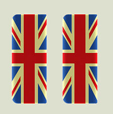 2x Vintage Union Jack Completo Bandera-Gel semicirculares de matrícula badges/decals 107x42mm