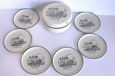 Vtg Buffalo NY 6 Plastic Coasters in Matching Box Marked For AM&A's Japan Apx 4""