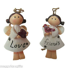 2 PACK - Love & Friends Sparkly Angel Christmas Tree Decoration - Hanger - Resin
