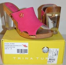 New $298 Trina Turk Palm Springs Lucite Suede Vivid Pink sz 10