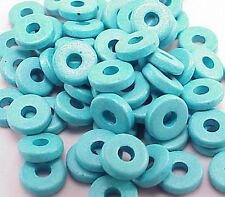 8mm Greek Disk Beads 2.7mm Hole Turquoise G00 Narrow Rondelle Spacer Ceramic