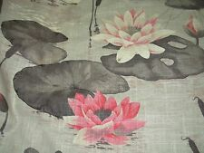 "~1 6/8 YDS~""ASIAN LILLY POND""~COTTON LINEN DRAPERY UPHOLSTERY FABRIC FOR LESS~"