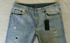 R13 women's boyfriends shredded relaxed skinny blue jeans size 29