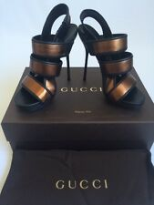 GUCCI Brown Bronze Nappa Leather Charlotte Sling Back Strap Sandals Sz 36 US 6