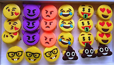 24 pcs Emoji Silicone Emoticon Ring Poop Angry Emotion Party Favor Bag Fillers