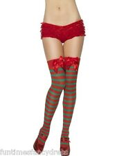 Christmas Sexy Elf Red & Green Striped Thigh High Stockings & Bow Fancy Dress