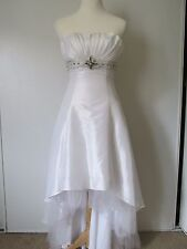 May Queen Couture White Fan Beaded Chiffon Tulle Strapless Formal Dress SZ: 4