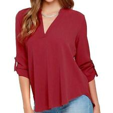 Summer Women Loose V Neck Chiffon Long Sleeve Blouse Casual Collar Shirt Tops