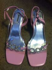 Women's size 8 Janice pink clear rhinestone strappy sandals heels shoes NEW