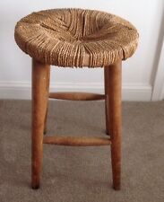 VINTAGE ROUND WOODEN FRAME RUSH WOVEN COUNTRY KITCHEN STOOL CHAIR PROJECT