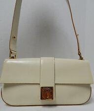 Salvatore Ferragamo Ivory Sleek Leather Gancini Small Shoulder Bag Italy